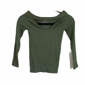 free people green key hole fitted top